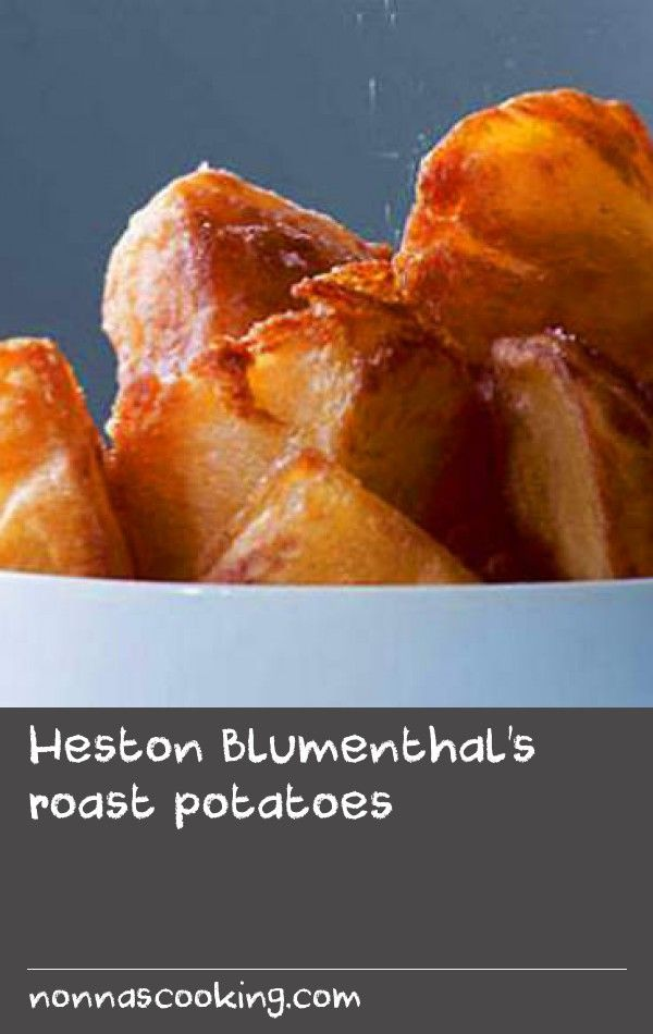 Heston Blumenthal's roast potatoes | This recipe makes roast potatoes just the way I like them – with a crisp, glass-like crust and a fluffy interior. The key is to cut the potatoes so they have lots of sharp edges then to cook them until they are almost falling apart. Don't scrimp on the amount of oil added to the pan – it is the fat gathering in the cracks that makes the potatoes so crispy. Olive oil works really well or you can use goose fat or beef dripping, but they will give a…