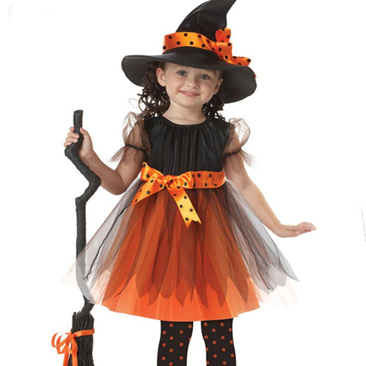 2017 New Halloween Costumes Witch Dress For Girl With Hat Cap Party Cosplay Dress Clothing Kids Girl Cartoon Performance Dress #Affiliate