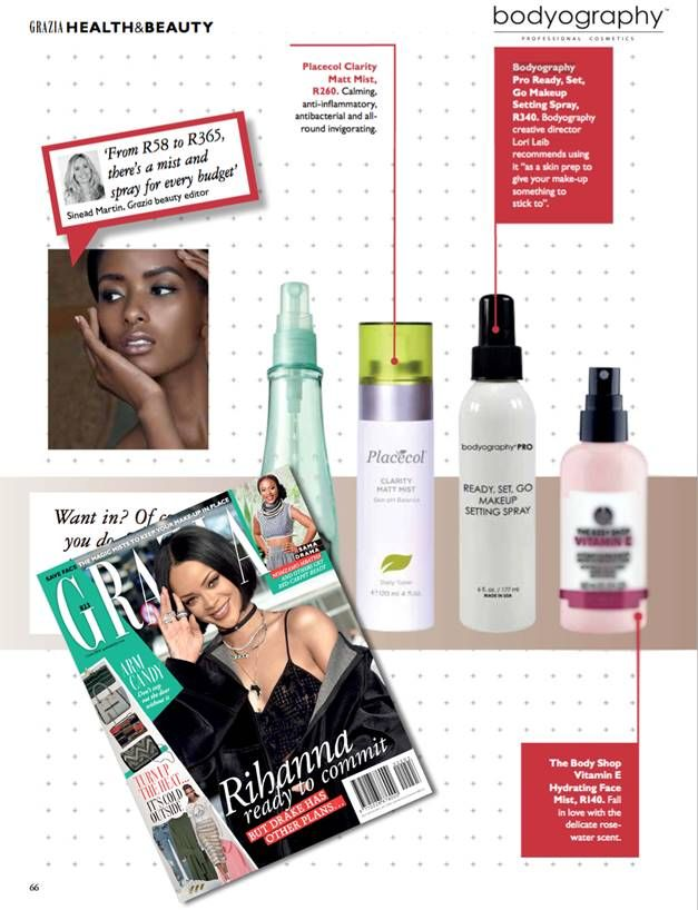Placecol Clarity Matt Mist featured in Grazia SA. A Calming, anti-inflammatory, antibacterial and all round invigorating product. ‪#‎FreshSkin‬