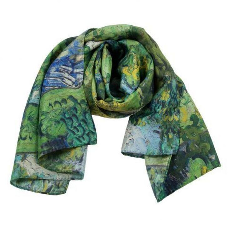Silk Scarf w motif HOUSES AT AUVERS by Vinzent van Gogh silk screened by hand #Rosberg #Scarf