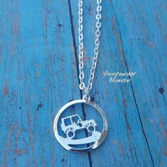 Gunpowder Woman Jeep Girl Necklace. Perfect Christmas gift for your Country Girl who Loves going Offroad! Bullet Jewelry. www.etsy.com/shop/gunpowderwoman