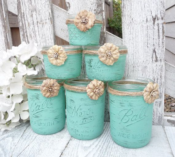 15 - RUSTIC MINT WEDDING - Shabby Chic Upcycled Country Wedding Decor, Candle Holders and Vases