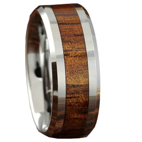 Handcrafted 8mm Koa wood ring crafted out of tungsten carbide. SALE $94.99