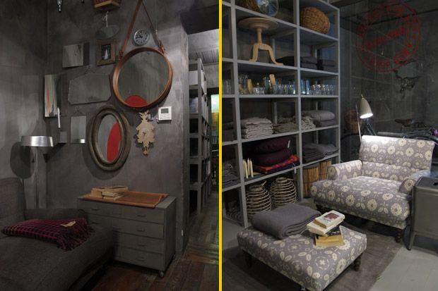 A sinistra, un gioco di specchi, tra vecchi e nuovi, connota la sala di passaggio di Emporio. A destra, poltrona di SCP