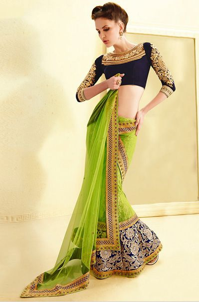 Green Net Lehenga Saree #saree #sari #blouse #indian #outfit  #shaadi #bridal #fashion #style #desi #designer #wedding #gorgeous #beautiful