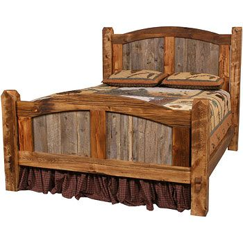 The Natural Barnwood Prairie Bed features classic mission styling to suit a western or country bedroom decor. The weathered barnwood panels combined with native wood timbers provide a wonderful two tone look to this rustic style cabin bed. Made in the USA.