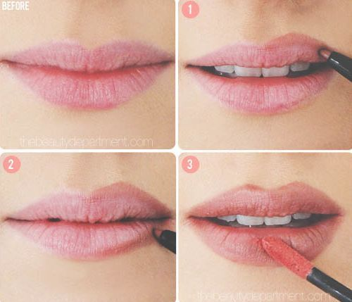 The Lip Cheat Now, there are a few tricks to making them appear larger (a glossy lip being one), but for a more dramatic effect, don't be afraid to line your lips just outside of your natural line.