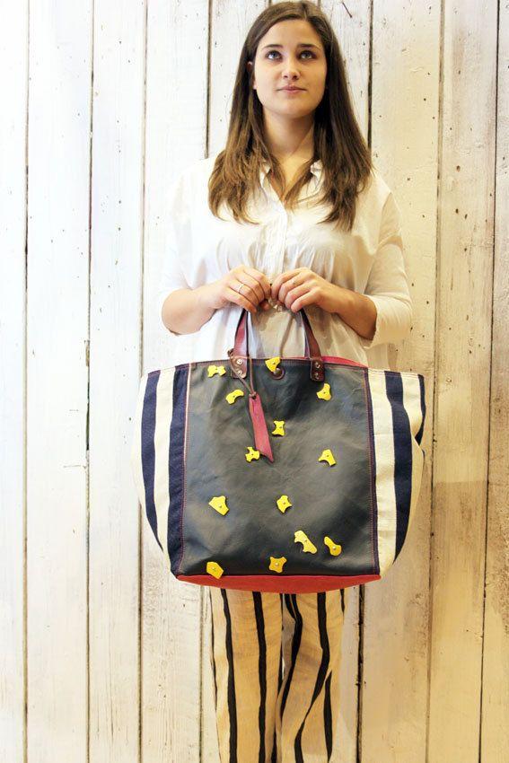 MY BAG MARINA Handmade Italian Leather & Canvas Tote Handbag di LaSellerieLimited su Etsy
