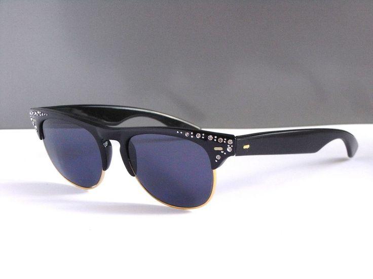 Wayfarer Retro Style Strass Damen Sonnenbrille Sunglasses Schwarz Modell 142