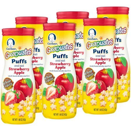 Gerber Graduates Puffs Cereal Snack, Strawberry Apple, Naturally Flavored with Other Natural Flavors, 1.48 Ounce, 6 Count
