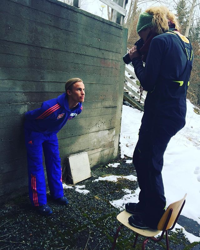 Photoshoting in between jumps, that killer look...!  #skijumpingfamily