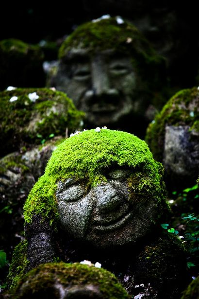 Mossy Jizo statues at Otagi Nenbutsu-ji temple, Kyoto, Japan. For a shady spot - the trolls from Disney's Frozen look like them. I wonder if that was the inspiration.