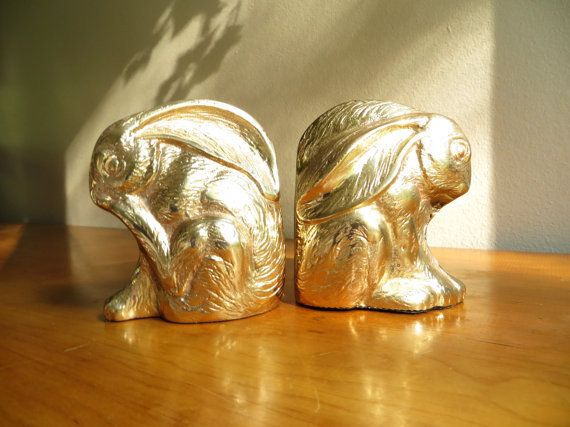 Vintage Brass Rabbit Bookends Gold Bunny By