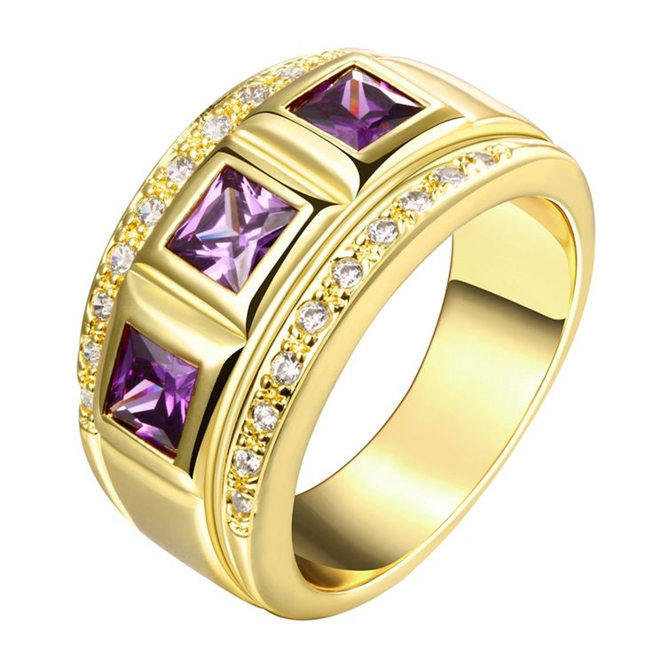 Find More Rings Information about Yellow Gold Men Ring Men Jewelry Purple Ruby Crystal Man Ring Mens Gold Wedding Band Gift bague homme anel de ouro masculino,High Quality gold gift certificate,China gold makeup brush set Suppliers, Cheap gift gold from Blue-Ocean Fashion Jewelry on Aliexpress.com
