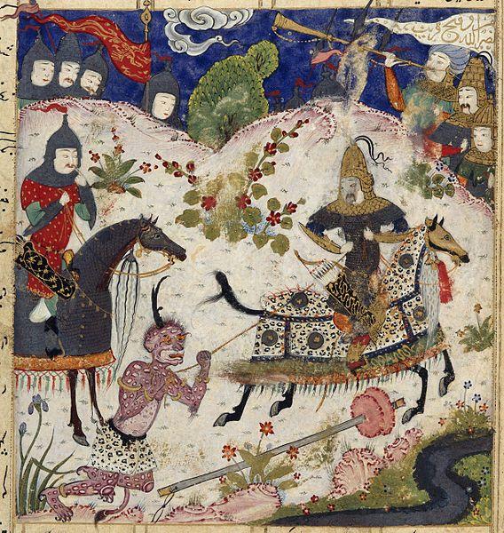 Iskandar (or Alexandar the Great) lassoing the Russian demon. A miniature painting from a sixteenth century manuscript of the Khamsa ('Five Poems') of Nizami. circa 1505