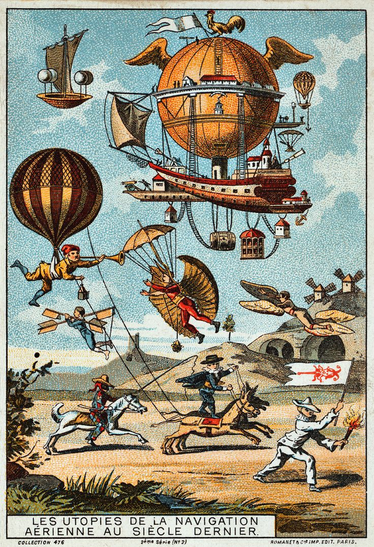 Innovation: Air Balloon, 19Th Century, Art, Poster, Steam Punk, Steampunk, Utopian Flying