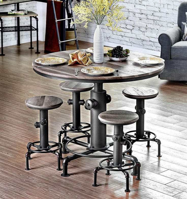 """Fire Hydrant Inspired 45"""" Round Counter Height Table Set"""