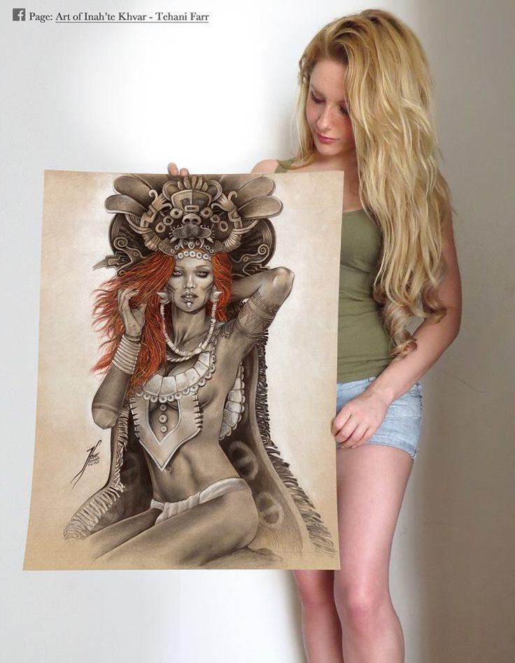 Una reina de grandes capacidades y dotada de gran belleza además de su evidente inteligencia creativa. Y claro el dibujo también es exelente...  #artoftehanifarr #tehanifarr #Farrillustration #fantasyart #warrior #illustration #art #drawing #prismacolor #realisticdrawing #reina roja #pakal #prehispanic #maya #redhead