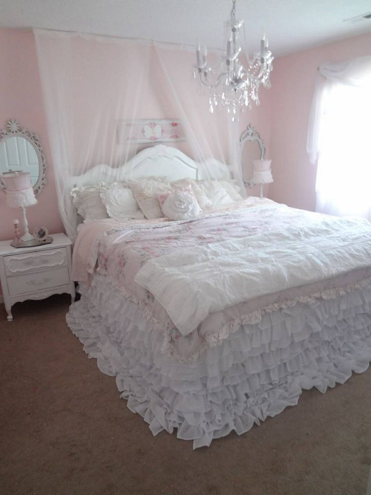 cozy ruffled bed. peaceful. | shabby chic romantic bedroom