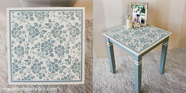 Floral Flower Furniture Stencils - Light Blue Chalk Paint Painted Furniture DIY Projects - Royal Design Studio Stencils