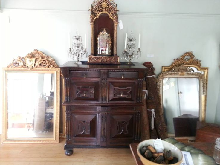 Charles the II chest, Gilt Mirrors and religious Niche.