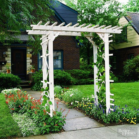 This arbor is easy on the pocketbook and a snap to build. In fact, if you like, you can eliminate most of the cutting by asking the lumberyard to cut the wood to length for a small fee./