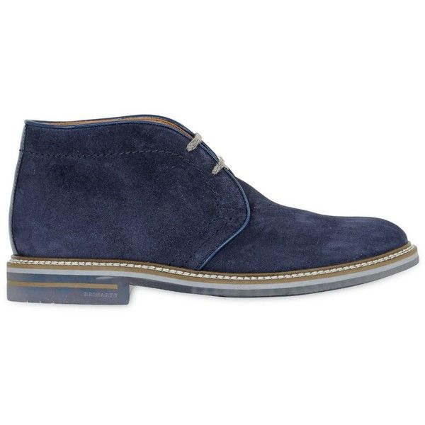 Brimarts Men Suede Chukka Boots ($235) ❤ liked on Polyvore featuring men's fashion, men's shoes, men's boots, men, shoes and blue