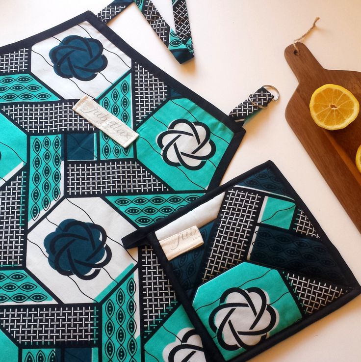 Handmade Apron and Pot Holder Set In A Floral Mint, Blue & Noir African Print Fabric- Mothers Day or Housewarming Gift by JubellaLondon on Etsy