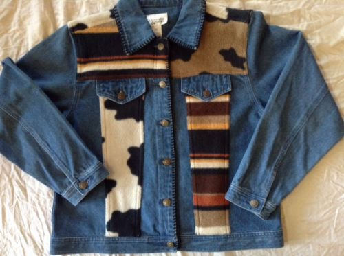 Demin Jean Jacket Womens Blue Fleece Blanket Patchwork Size Medium