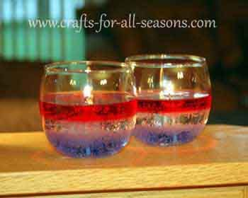Learn how to make these easy gel candles, perfect for the Fourth of July! - From Crafts For All Seasons