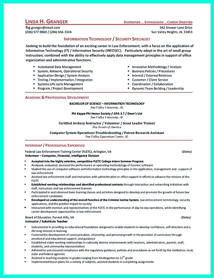 2695 best Resume Sample Template And Format images on Pinterest - network security resume