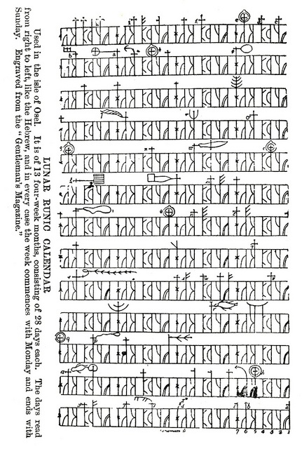 Ancient runic calendar from the island of Osel in Estonia. It's the Ancient Nordic Goths' calendar of 13 months of 4x7 day weeks.