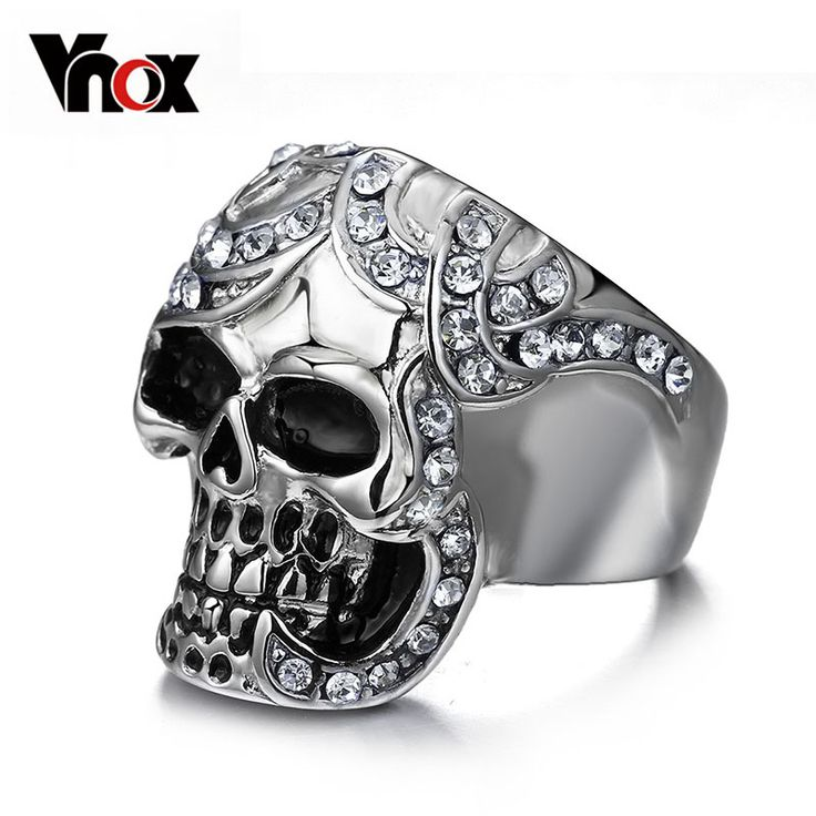 Vintage Europe Silver Plated Simulated Diamond Skull Rings Party King Men Ring Rock Punk Horrible Rings