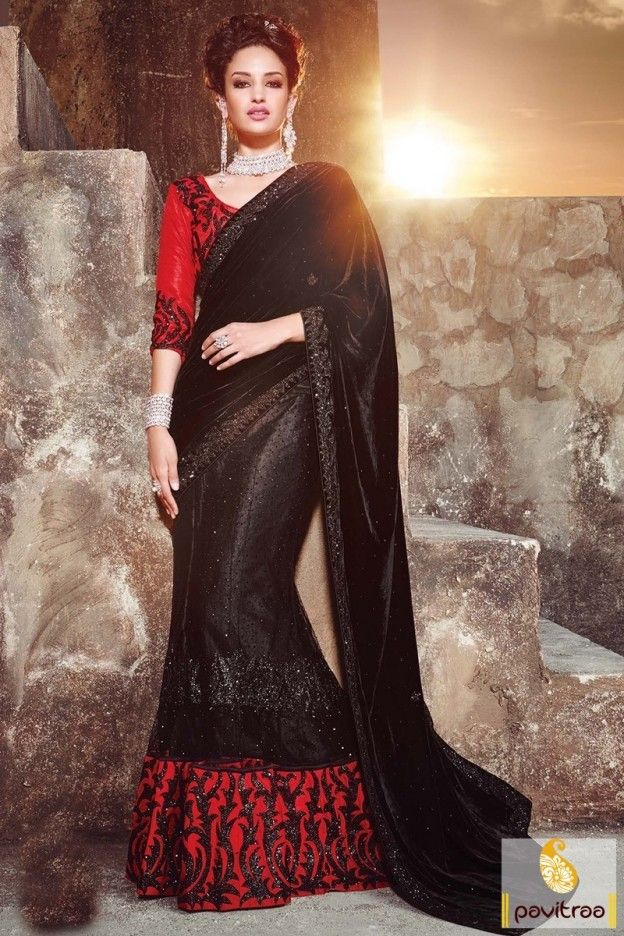 Most spectacular designer black and red velvet wedding one minute lehenga saree online extremely gorgeous sparkling embellishments. Shop online fashionable wedding lehenga style half saree with discount offer on Pavitraa shopping store. #saree, #designersaree more:http://www.pavitraa.in/store/designer-collection/