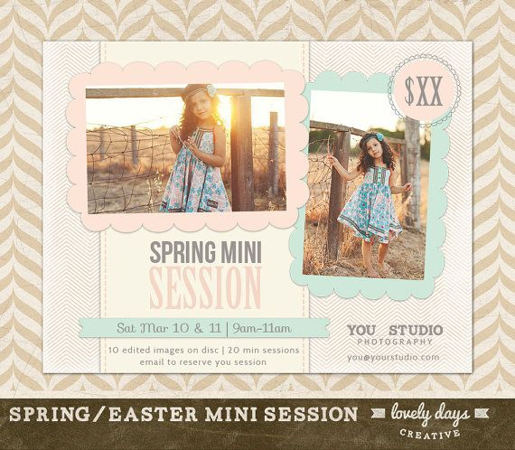Spring Mini Session Marketing Board Flyer Ad Template for Photographers INSTANT DOWNLOAD