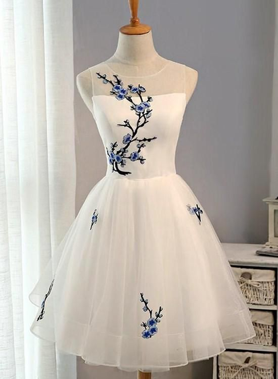 Simple White Tulle Knee Length Party Dress 7dd8dc255f09