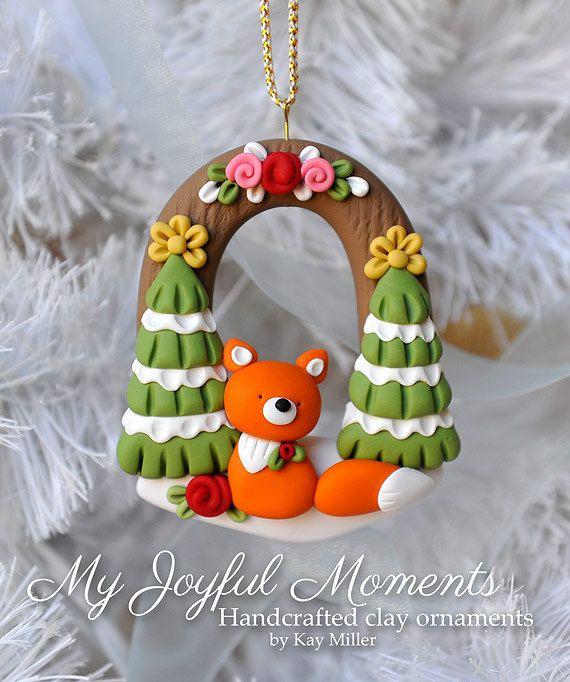 Handcrafted Polymer Clay Winter Fox Scene от MyJoyfulMoments
