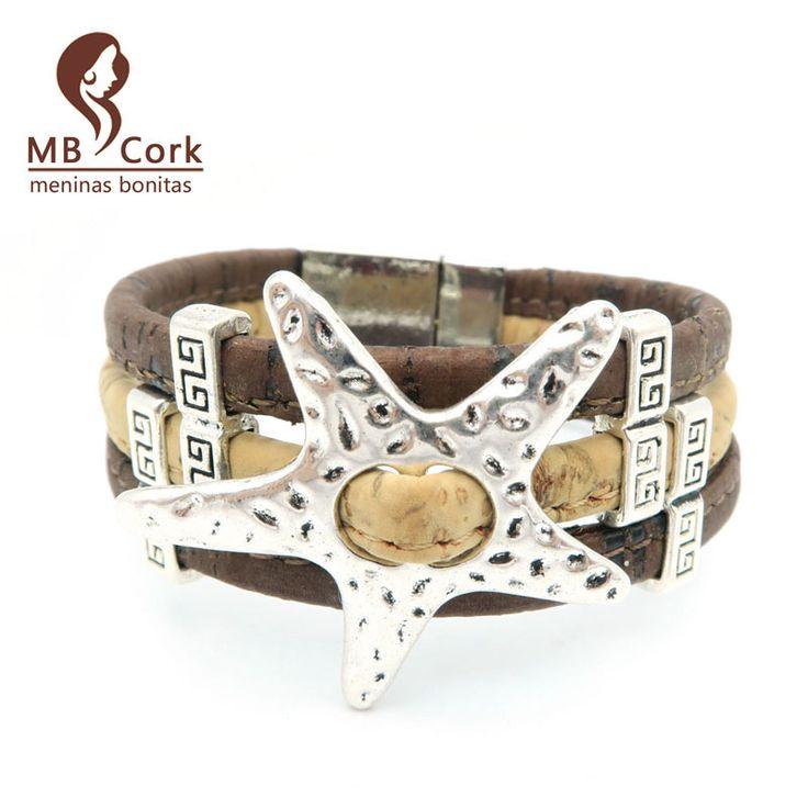 MB Cork starfish bracelet cork Sea star bracelet  magnet clasp   Nautical bracelet jewelry Birthday gift Br-72