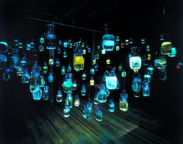 "massmoca:        FLASHBACK FRIDAY: Do you know who created these eerie jars of light for us, and when?      Update: Thanks for answering, as always! This piece is called ""Room of the Host"" and is by artist Lim Young-Sun. It was featured in our 2000 exhibit ""Unnatural Science."""