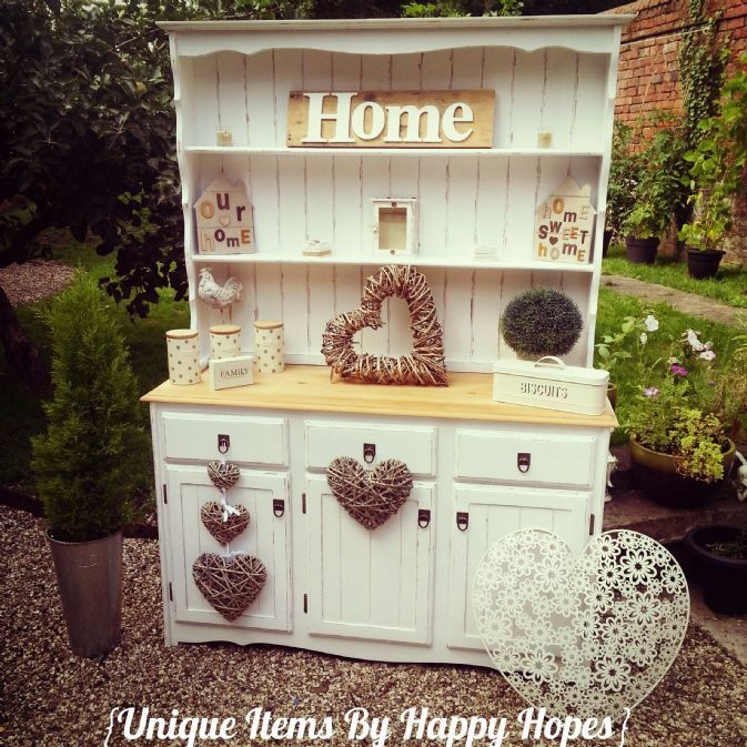 Stunning shabby chic welsh dresser lovingly restored and hand painted ...