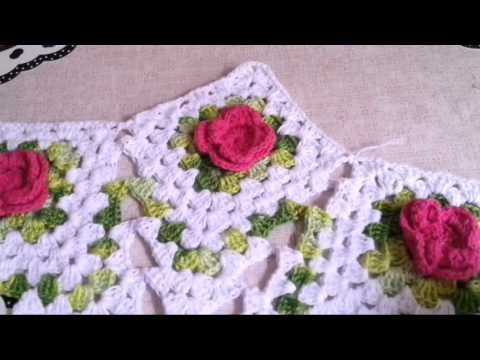 Centrinho estrela com flores # Elisa Crochê - YouTube