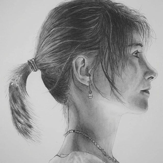 Portrait Dessin D Une Jeune Fille De Profil Avec Une Couette