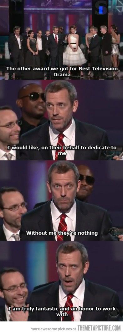 <3 hugh laurie: Laughing, Houses Md, Funny Pictures, Accepted Speech, Hugh Lauri, Funny Stuff, Things, Hilarious, Lauri Accepted