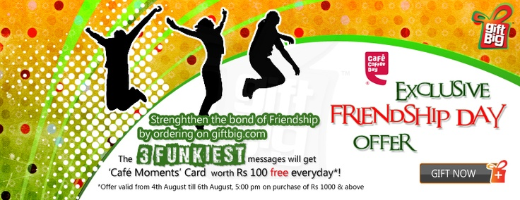 Buy Friendship Day Gift Card & gift vouchers online in India.  http://www.giftbig.com/occasions.html