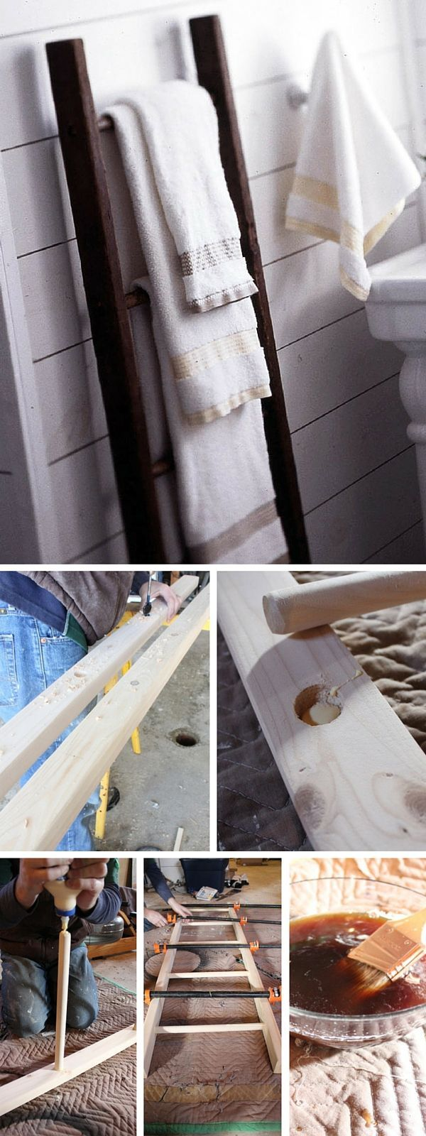 Check out the tutorial: #DIY Ladder Towel Rack #crafts #homedecor