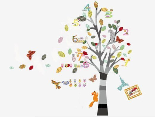 Walplus set de stickers muraux avec hibou alphabet fleurs arbre pour chambre d 39 enfant - Stickers chambre d enfant ...