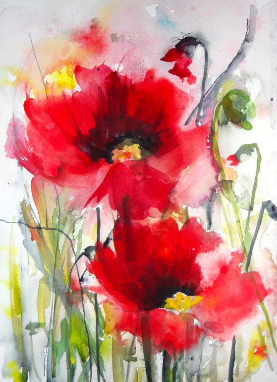 """Saatchi Online Artist: Karin Johannesson; Watercolor 2013 Painting """"Dreamy Poppies III"""" This would be a pretty tattoo."""