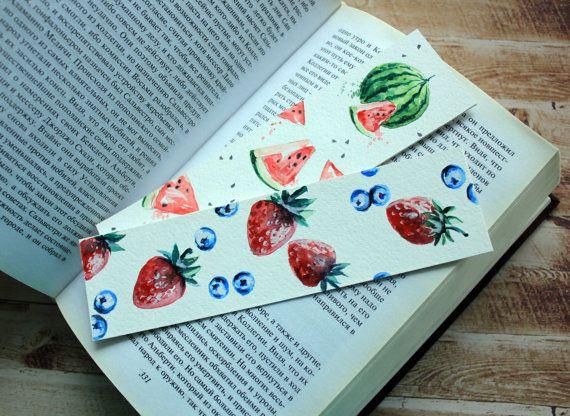 Watermelon Bookmark Watercolour, Strawberries  Bookmark, Card Bookmark, Watercolour Paint Bookmark, Fancy Bookmark, Cute Bookmark