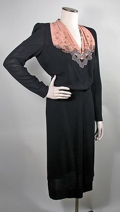 1940s Black and Peach Beaded Rayon Crepe Vintage Dress