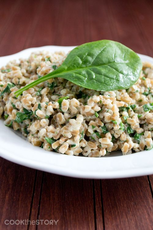 Farro with Cream Cheese and Spinach - a really filling side dish